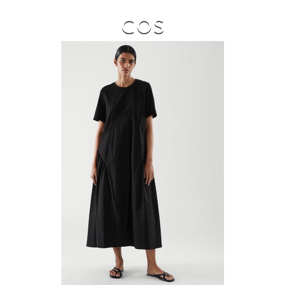 COS womens pleated T-shirt jumpsuit black 2021 spring new 0966470001