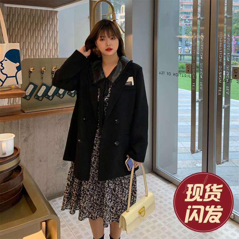 Wang grape micro-fat mm Korean version of black loose-fitting thin suit top womens spring net red big size suit jacket