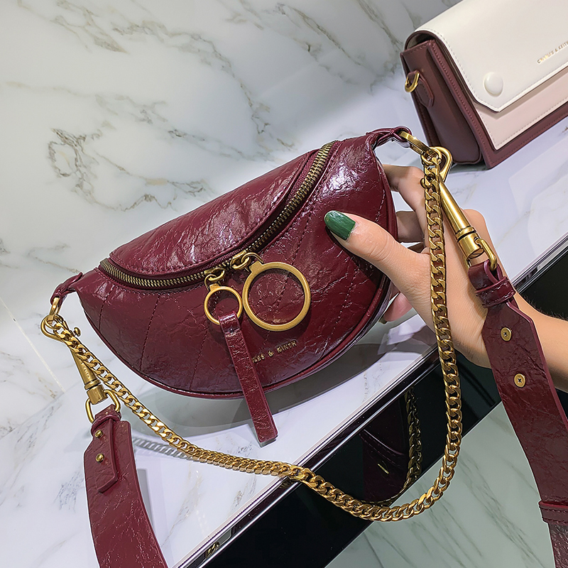 Bag small CK waistband wrinkle lady's bag new style fashion retro-chain bag style ins single shoulder inclined bag in 2019