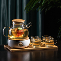 Make fruit glass flower teapot tea set Japanese high temperature thick transparent candles can be heated to boil flower tea