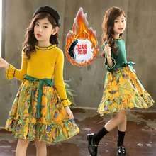 Girls'Dresses Autumn and Winter Dresses 2019 New Foreign Style Children's Knitting Princess's Winter Skirt with Plush Sweaters