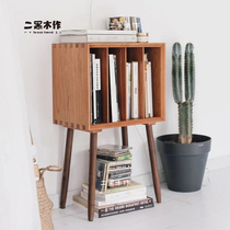 Two black wood map magazine cabinet original Nordic Japanese wood cherry black walnut cabinet small bookcase