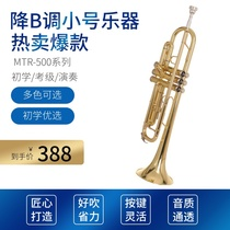 Small instrument beginner JM Maresk plays universal lower B-tone trumpete student group gold and silver