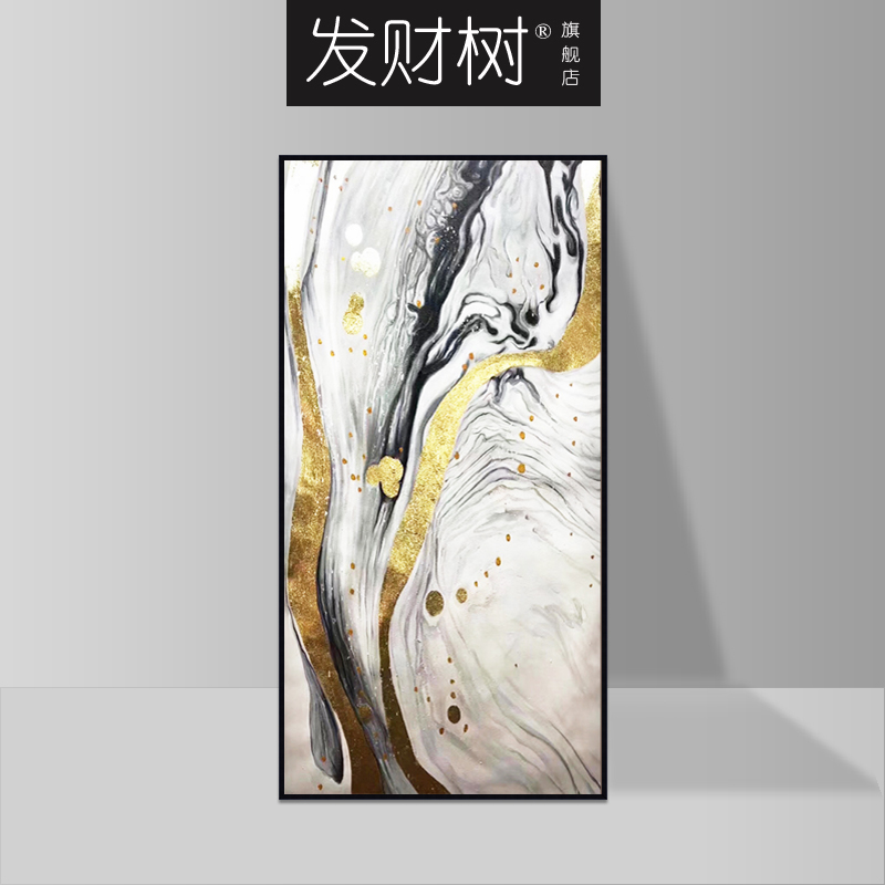 New Chinese-style hand-painted porch decorative painting corridor abstract oil painting staircase vertical painting purely hand-made Dafen village custom-made