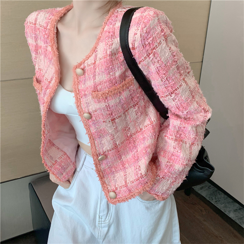 Pink small fragrance jacket womens short 2020 autumn winter new Korean version of loose-fitting casual top small