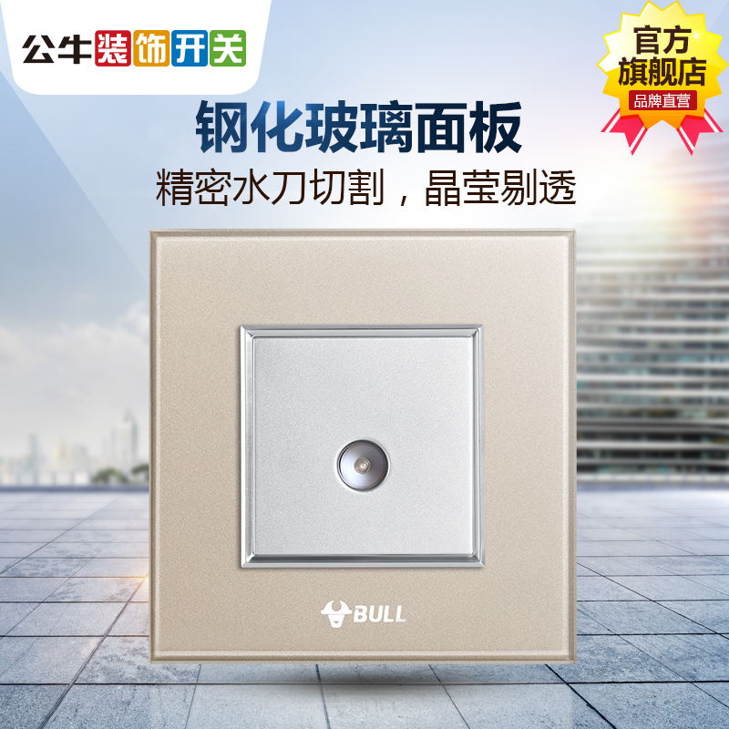 Bull Switch Socket Cable TV Socket Closed Circuit TV Socket Champagne Golden TV Switch Panel G22