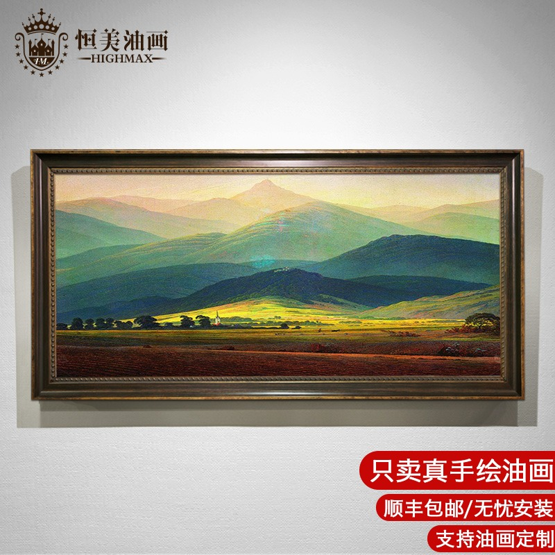 Hengmei European Oil Painting Decorative Painting Living Room Landscape Oil Painting American Restaurant Hanging Painting of Modern Gateway Giant Mountain