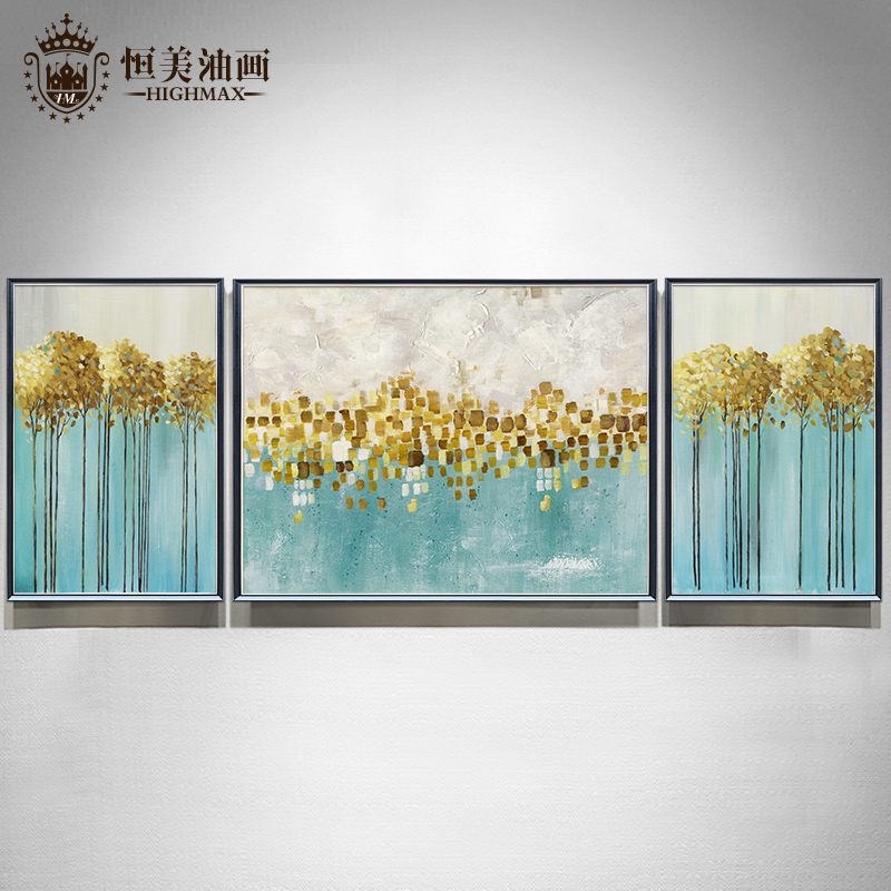 European-style hand-painted oil painting modern simple triple gold leaf tree decoration light luxury living room fresco bedroom hanging gold