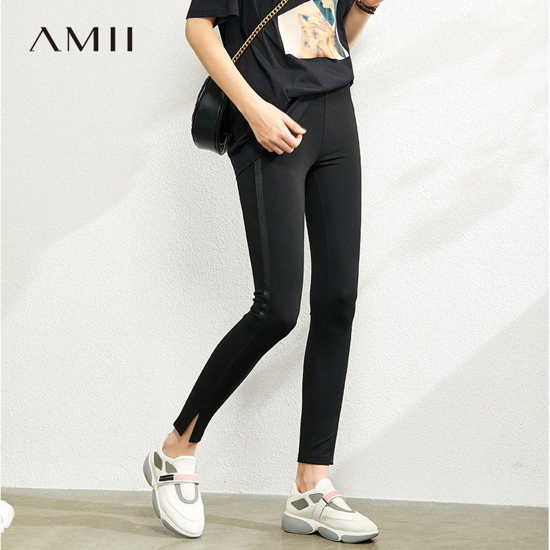 Amii is simple, slim and versatile, with a patchwork ribbon and a pair of leggings. New black thin pencil pants for spring 2020