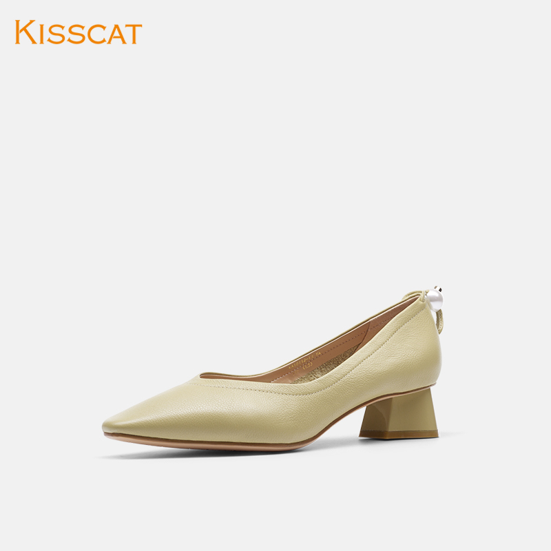 Kiss cat 2020 spring new simple pearl decoration casual shoes fashion pointy sheepskin RETRO art grandma shoes