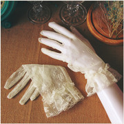 Korean Korean simple elegant wedding wedding short thin white lace gloves bride wedding accessories in winter
