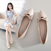 Shoes shoes 2017 spring and Autumn New Korean students all-match shallow mouth pointed bow flat with black