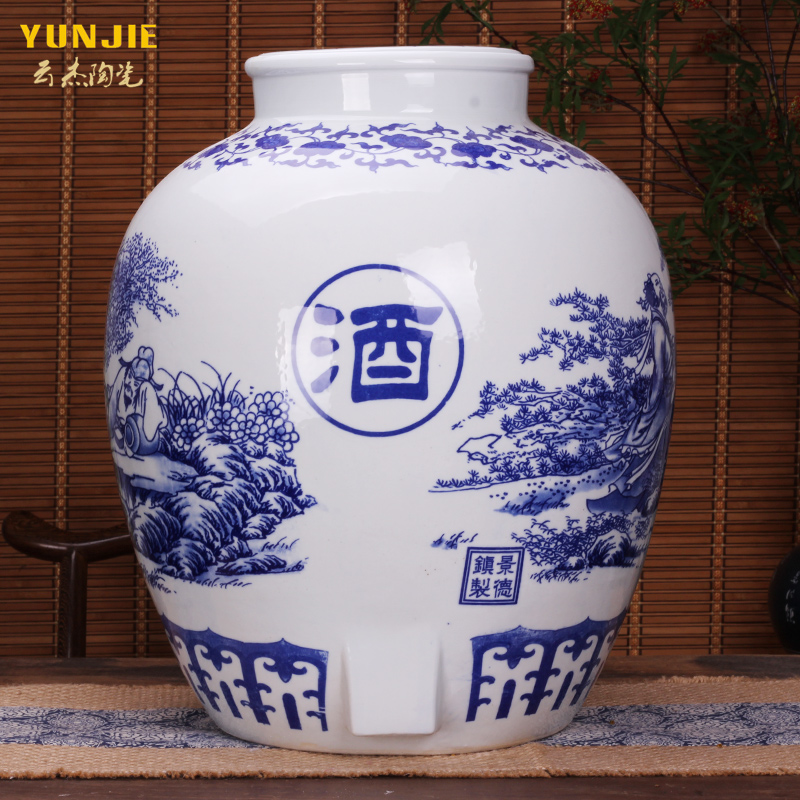 Jingdezhen ceramic jars porcelain wine jars blue and white porcelain wine jar large mouth 50 kg wine tank with leading wine bottle
