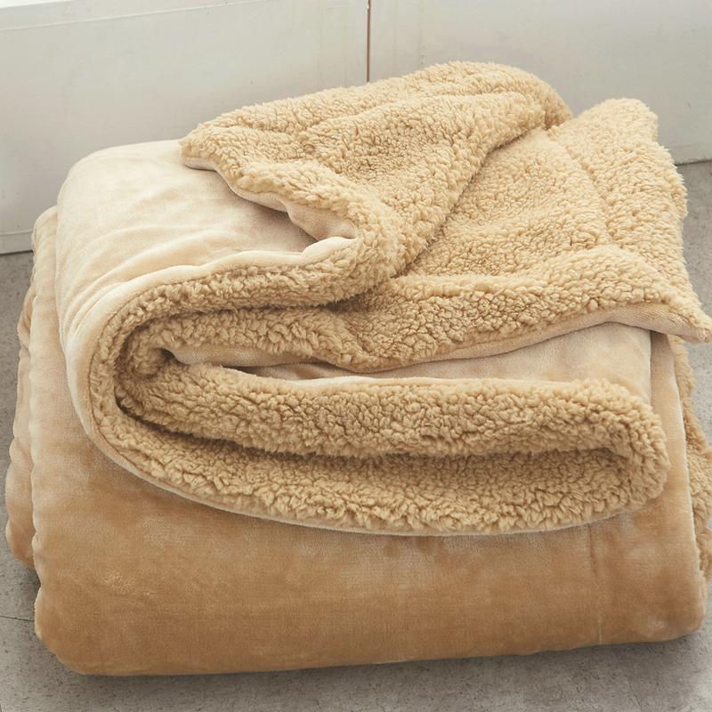 Small blanket blanket lamb velvet double layer thickened warm office single nap cover blanket winter coral velvet blanket