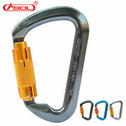 Professional outdoor equipment downhill type D thread lock master lock hanging fast climbing mountaineering buckle automatic locking safety hook
