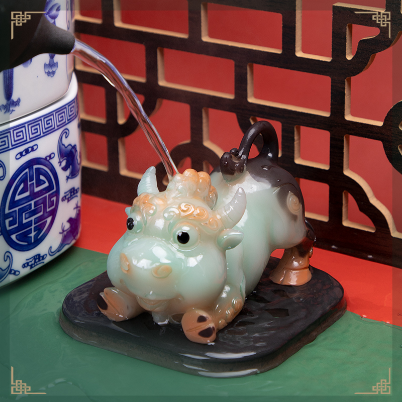 Turn around the dry Kun tea pet small piece of color-changing tea to play fine can raise zodiac cow 沖 days kung fu tea set to make money
