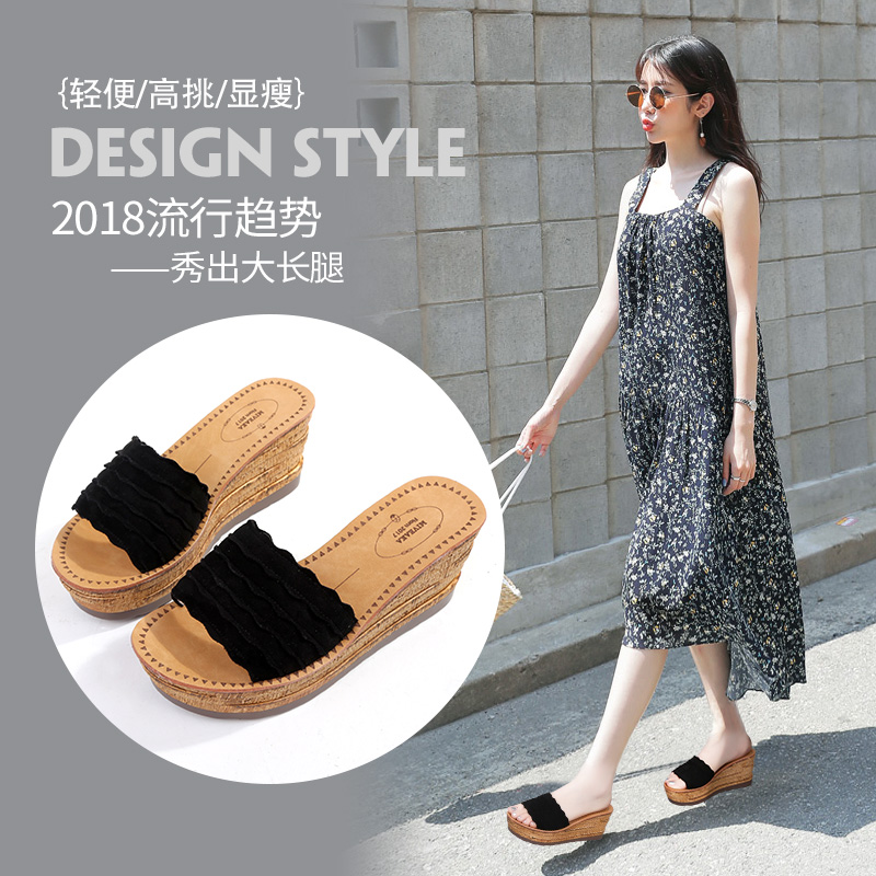 Mivekapo heel slippers, summer thick-soled sandals, new fashion, high-heeled slippers and muffin shoes in 2019