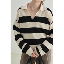 Van Luo 2021 autumn wool casual POLO collar striped loose sweater female design sense lazy knit top