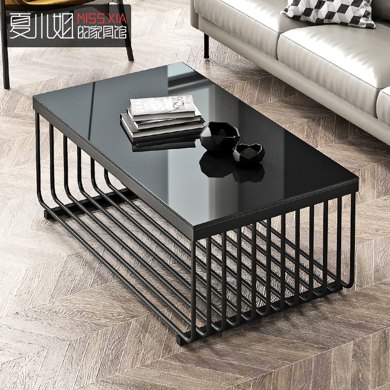 Office simple black glass face fire stone 巖 tea table combination of iron simple industrial style creative coffee table