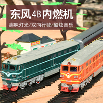 Childrens electric green leather Dongfeng 4B internal combustion engine train track toy High-speed rail small train set track toy