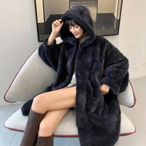 Mink coat womens whole mink medium and long hooded 2020 new imported velvet mink fur profile large size