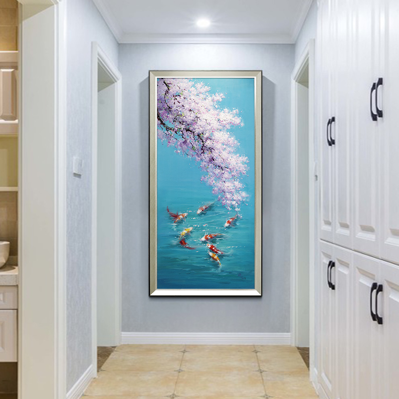 Cherry Blossom Jiuyu Picture Oil Painting New Chinese Living Room Hanging Painting American Lightweight and Luxurious Pass Decorative Painting Passage Restaurant Fresco