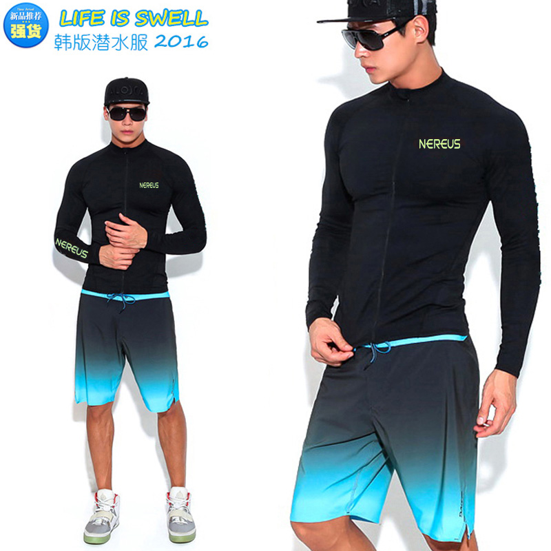 Korean long-sleeved swimsuit male split zipper diving suit suit trousers beach pants sunscreen surf snorkeling