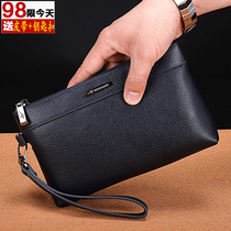 <br> <br> english-Kangaroo handbag man cell phone bag leather large-capacity first layer of leather leisure business men's handbag soft leather