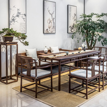 Old birch tea table and chair combination simple modern new Chinese solid wood kung fu tea office Zen tea room furniture