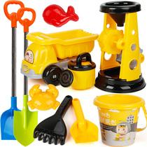 儿童沙滩玩具套装玩沙子挖沙男孩女孩宝宝沙漏铲子和桶决明子工具