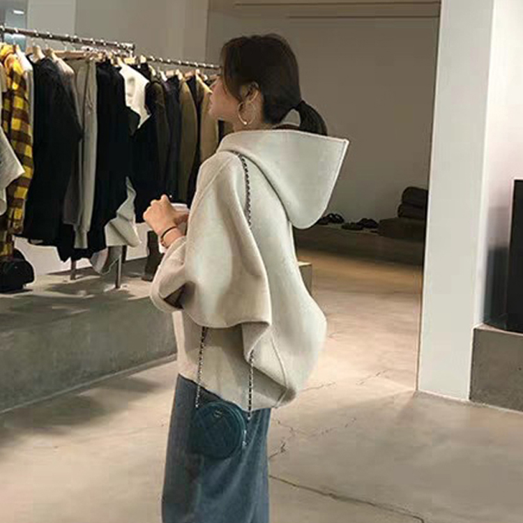 2021 new spring small men show high foreign age double-sided cashmere coat female short high-end sweater coat