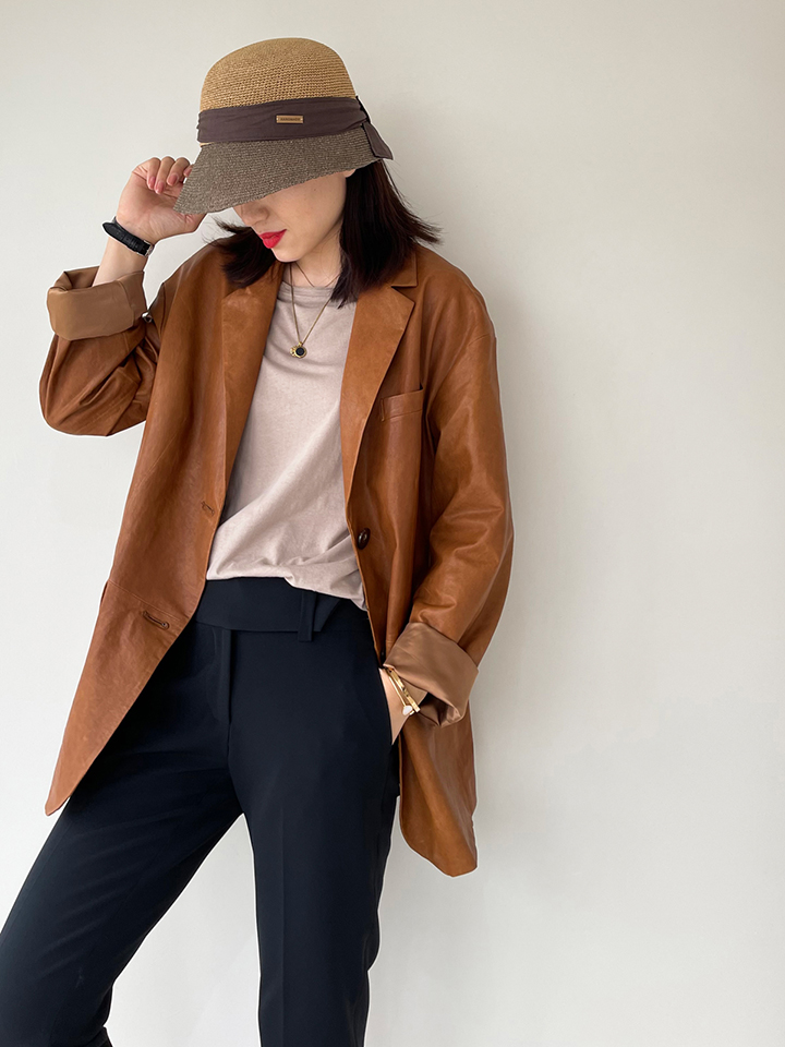 OVERSIZE vintage collection series spring and summer sense leather jacket This tone like crazy