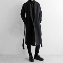 Woolen coat men British wind autumn and winter coat trend Korean version thickened in the long section of mens cashmere coat