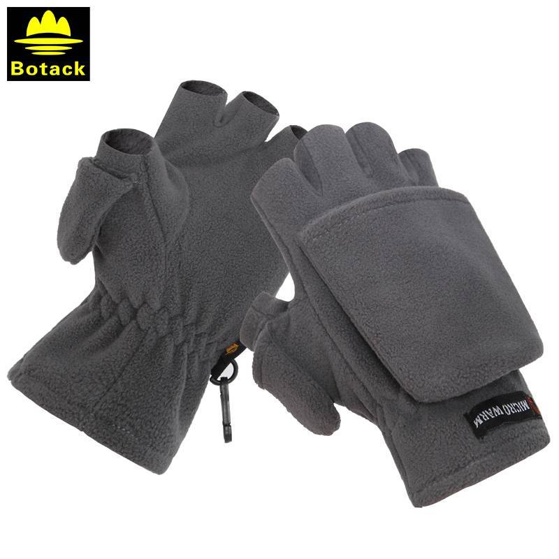 [The goods stop production and no stock]Bout outdoor men's and women's fleece half-finger clamshell gloves riding mountaineering autumn and winter warm thickening photography gloves