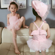 2017 new infant swimming girl one-piece angel wings Princess female baby yarn skirt suit