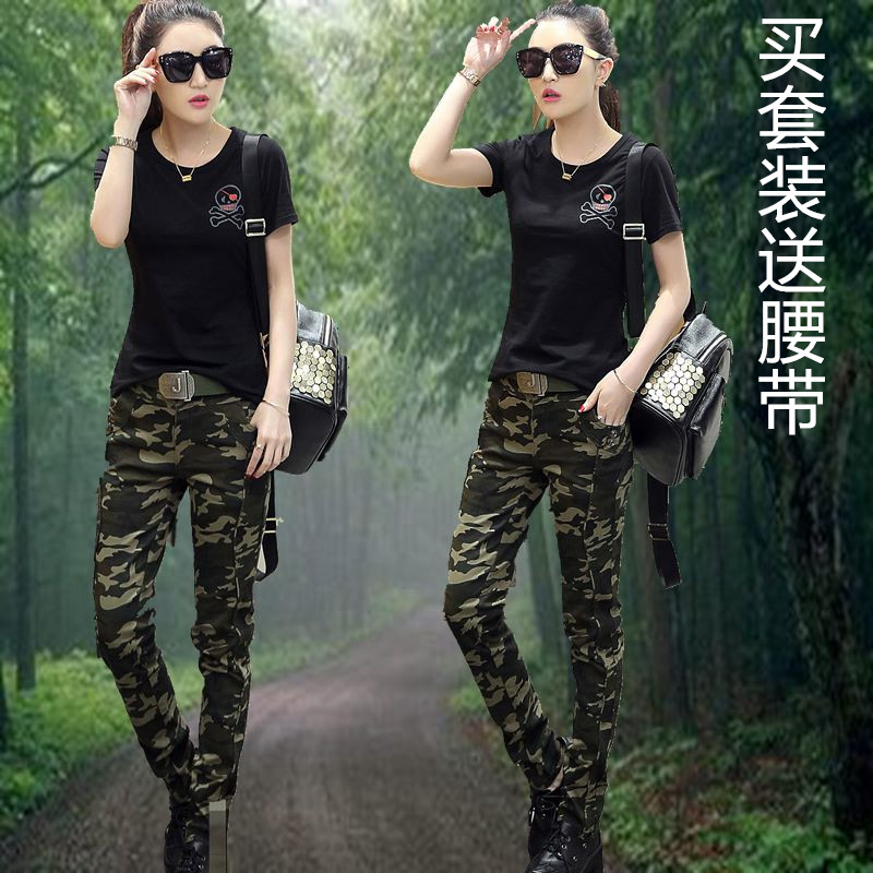 Genuine summer outdoor mountain climbing large-size camouflage dress female black short-sleeved travel military suit fitted for training clothes