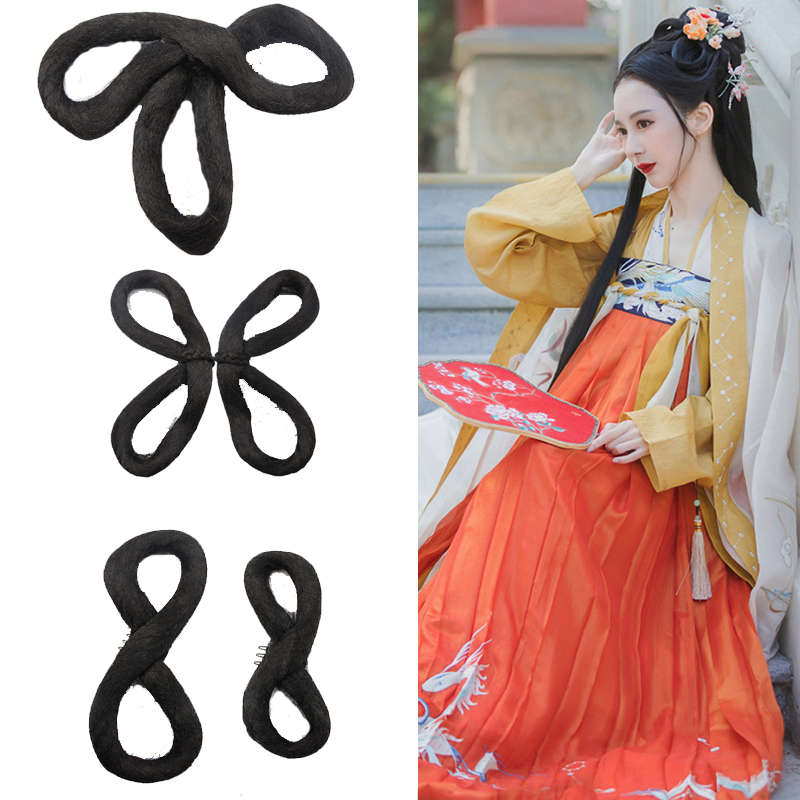Hanfu wig, three ring hair bun, broken hands, entry-level full hair, soft hair ring, butterfly hair bun after contracting
