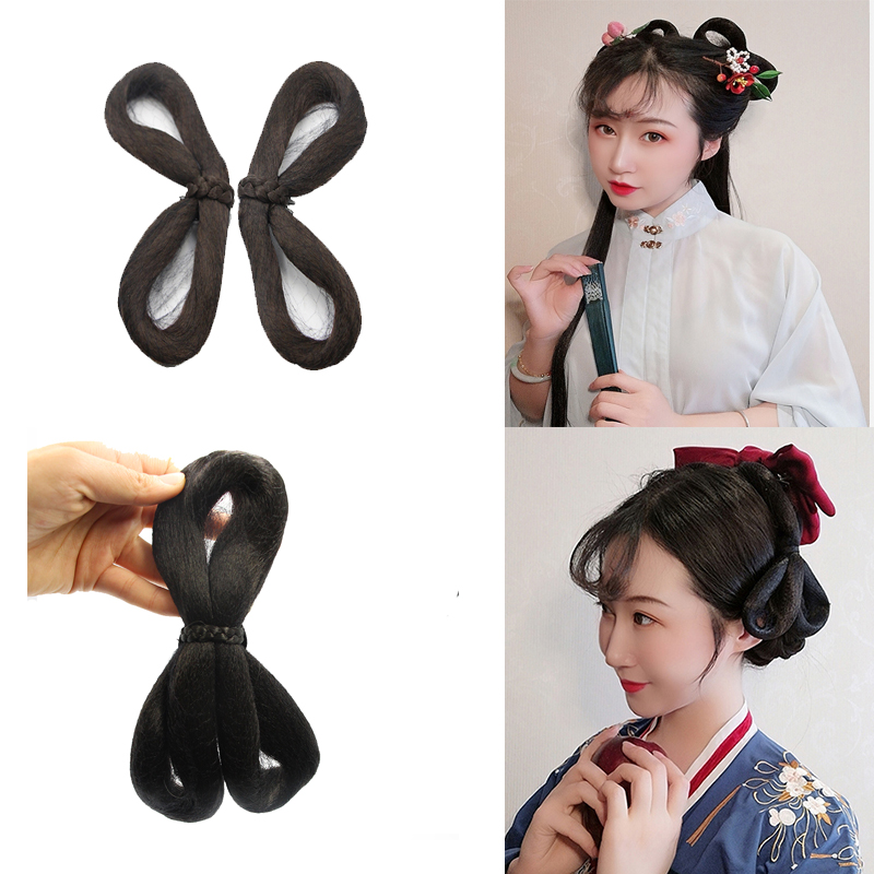Ancient Chinese Costume Wig three ring bun full hair soft hand disabled party pull shape 8 word contract fairy bun