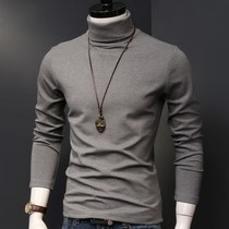 Autumn and winter high-neck bottoming shirt men slim cotton mens long-sleeved T-shirt solid color warm plus velvet thickening tide
