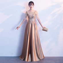 Chorus performance dress, banquet dress, women's new style of noble golden Long-style hostess dress in 2019