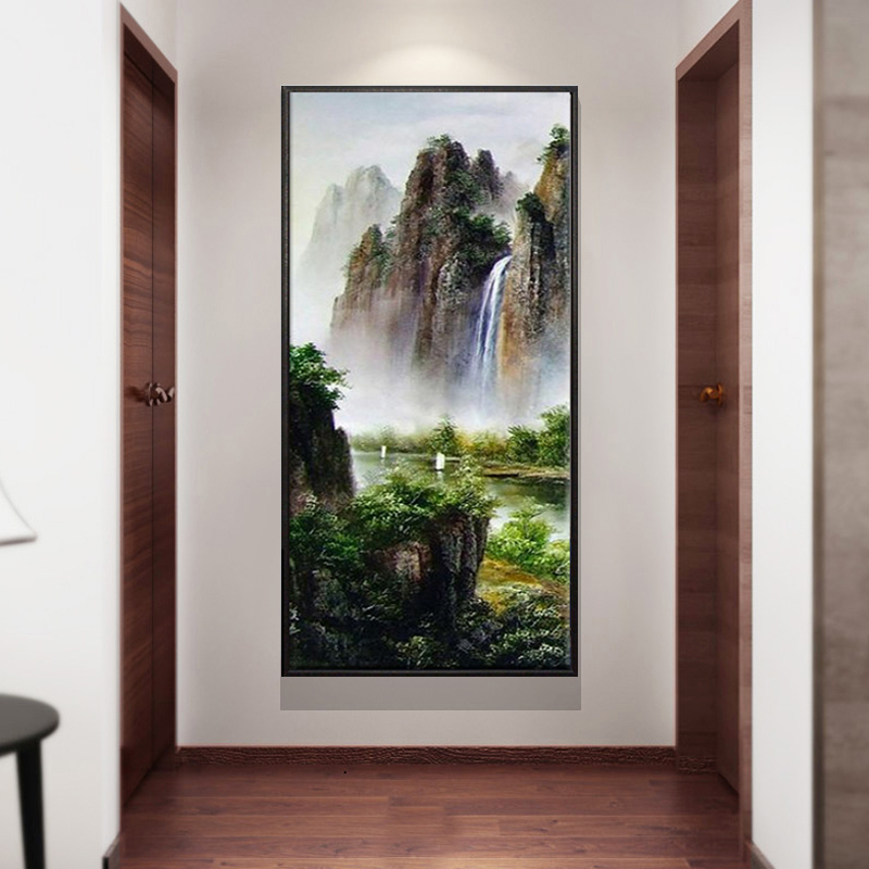 Hand-painted landscape oil painting living room porch decoration corridor hanging vertical engraving murals picturesque rivers and mountains