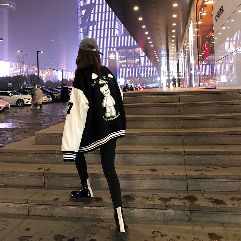 Cubs baseball uniform women spring and autumn ins tide American street jacket loose top bf fashion casual leather jacket