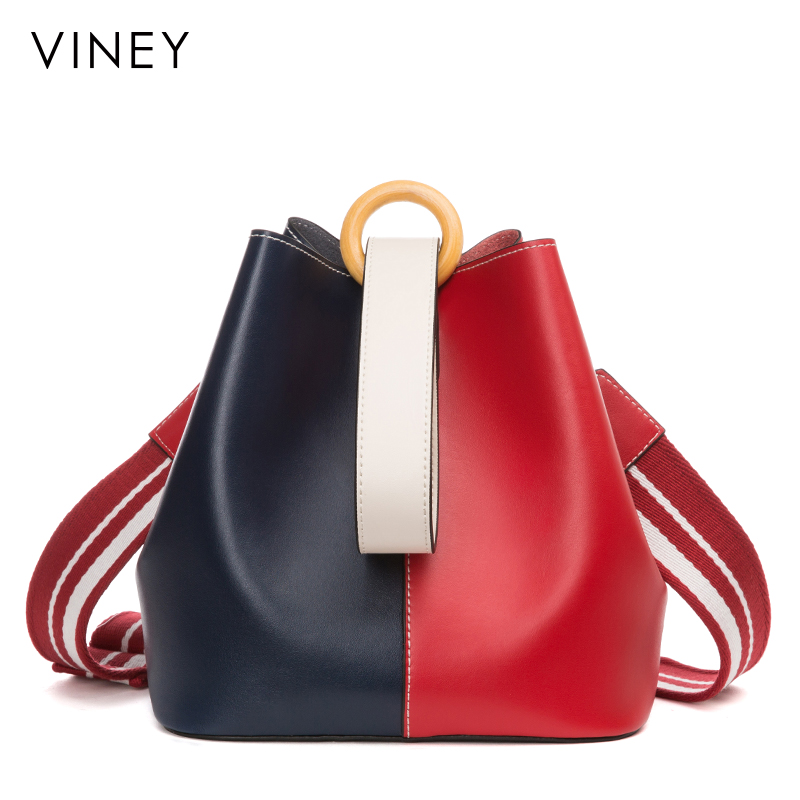 Viney bag female 2018 new leather handbags color matching personality bucket bag Korean version of the wild shoulder diagonal package