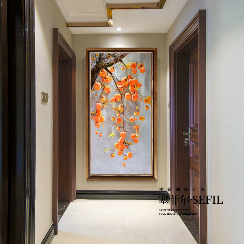 Hand-painted oil paintings Chinese light and luxurious porch decorative paintings American vertical aisle hallway living room hanging mural persimmon