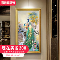 European Living Room Hand-painted Landscape Oil Painting Decorative Painting American Point Mural Peacock Picture Passage Hanging Picture Vertical Print Customization
