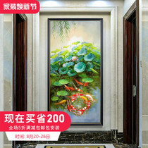 New Chinese-style porch decoration painting vertical version corridor hanging modern living room wall painting, hand-painted oil painting comes and goes