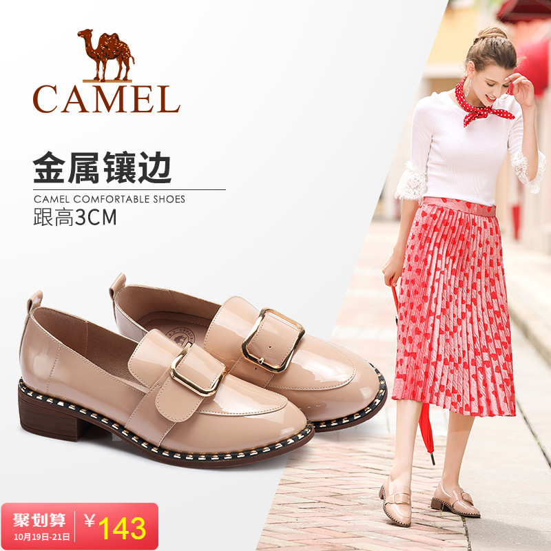 Camel Women's Shoes 2019 New Spring and Autumn Leisure Coarse-heeled Women's Shoes Fashion Buckle Temperament Social Single Shoe Women
