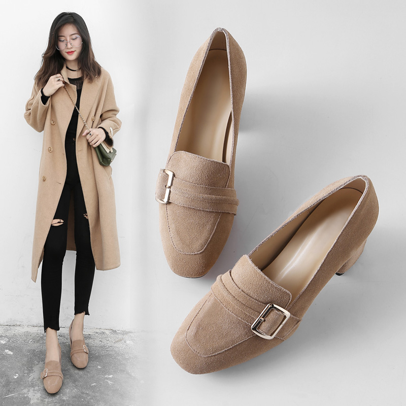Spring 2019 new Korean version of genuine leather square buckle high heel shoes, thick heel single shoes, Retro Leather Belt Buckle fashion women's shoes