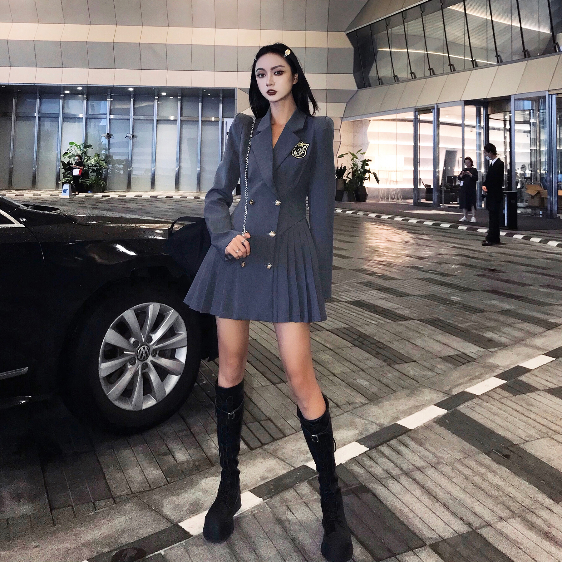 Lige tide brand college style suit dress female 2020 autumn and winter new waist slim long-sleeved pleated short skirt