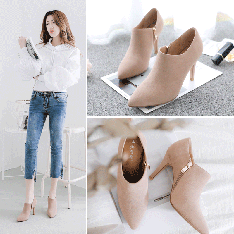 Spring 2019 New Fashion Baitie High-heeled Shoes, Grinded Point Suede, Deep-mouthed Korean Single Shoes, Women's Fine-heeled Shoes